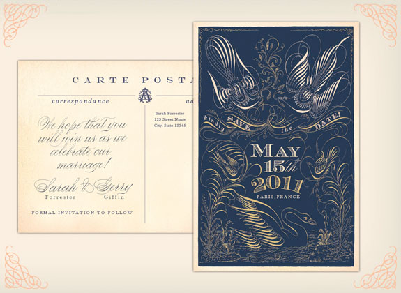Lucky Luxe save the date card