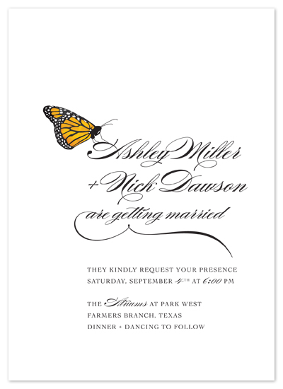 Fly, Butterfly wedding invitation