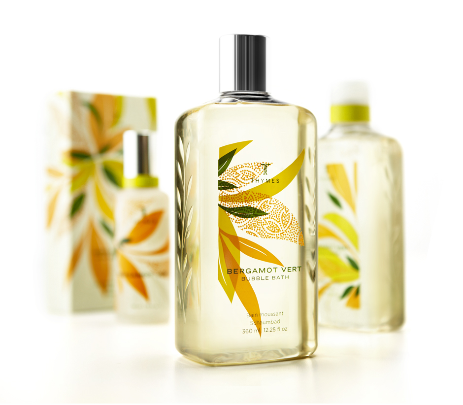 Bath Products : This beautiful packaging for Thymes Bergamot Vert bath products was ...